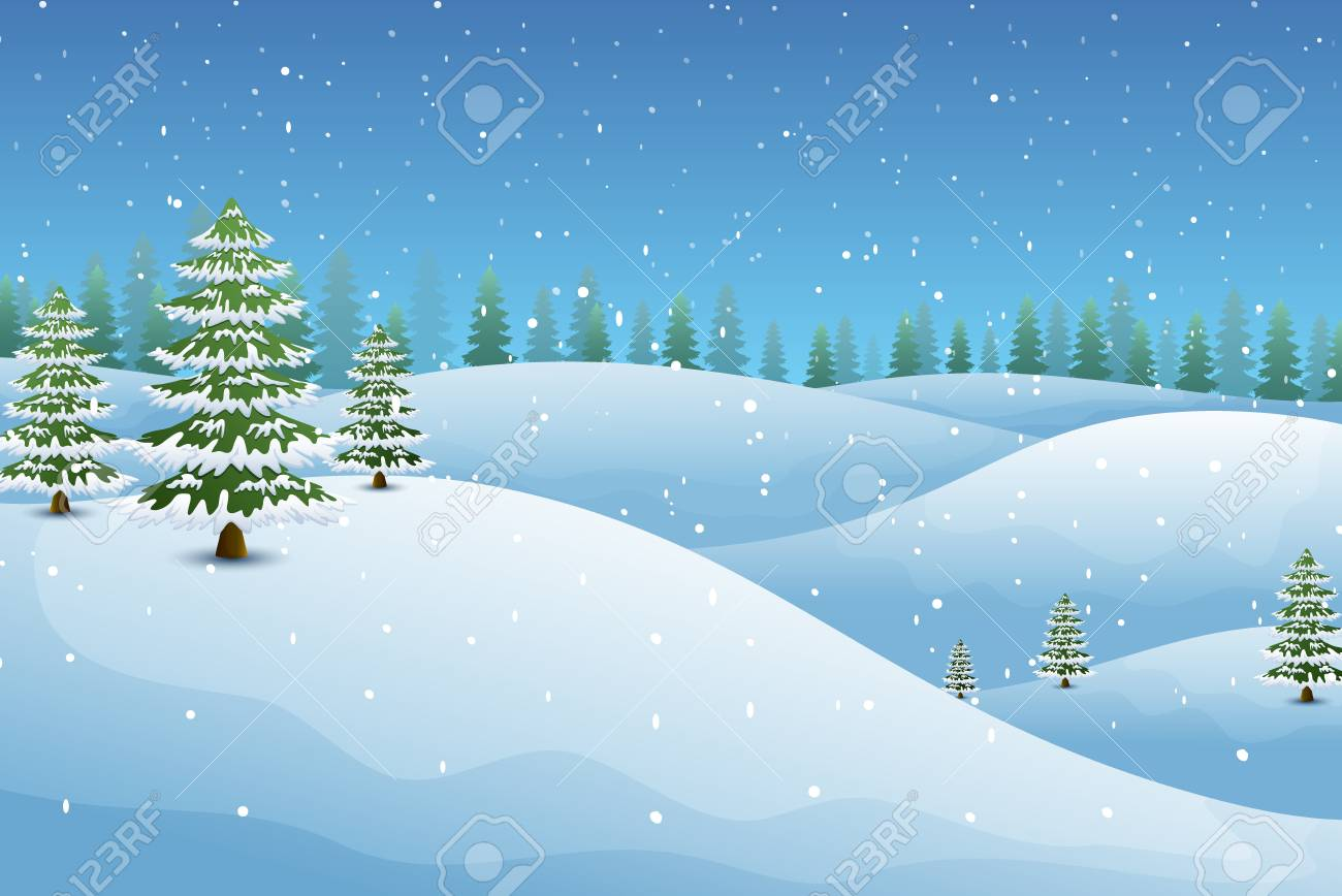 Vector illustration of Winter landscape with fir trees and snowy hills - 90064978