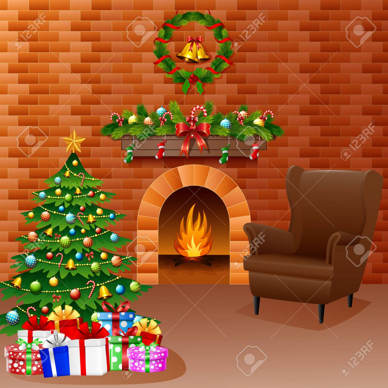 Vector illustration of Christmas fireplace with Christmas tree, presents, and sofa. - 90064831