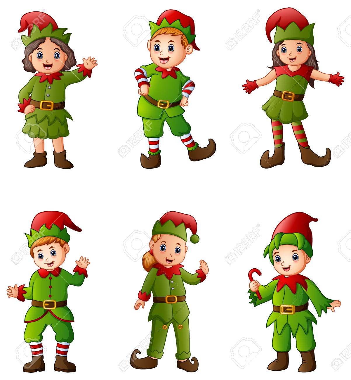 Set Of Cartoon Christmas Elves Isolated White Background Stock Photo ...