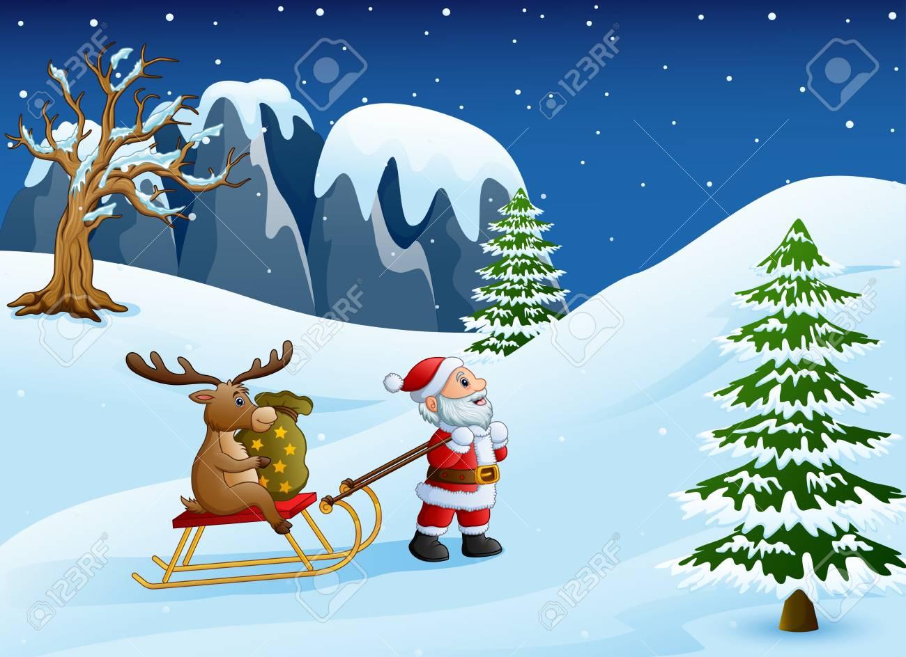 Illustration Vectorielle De Dessin Animé Drôle De Père Noël Tirant