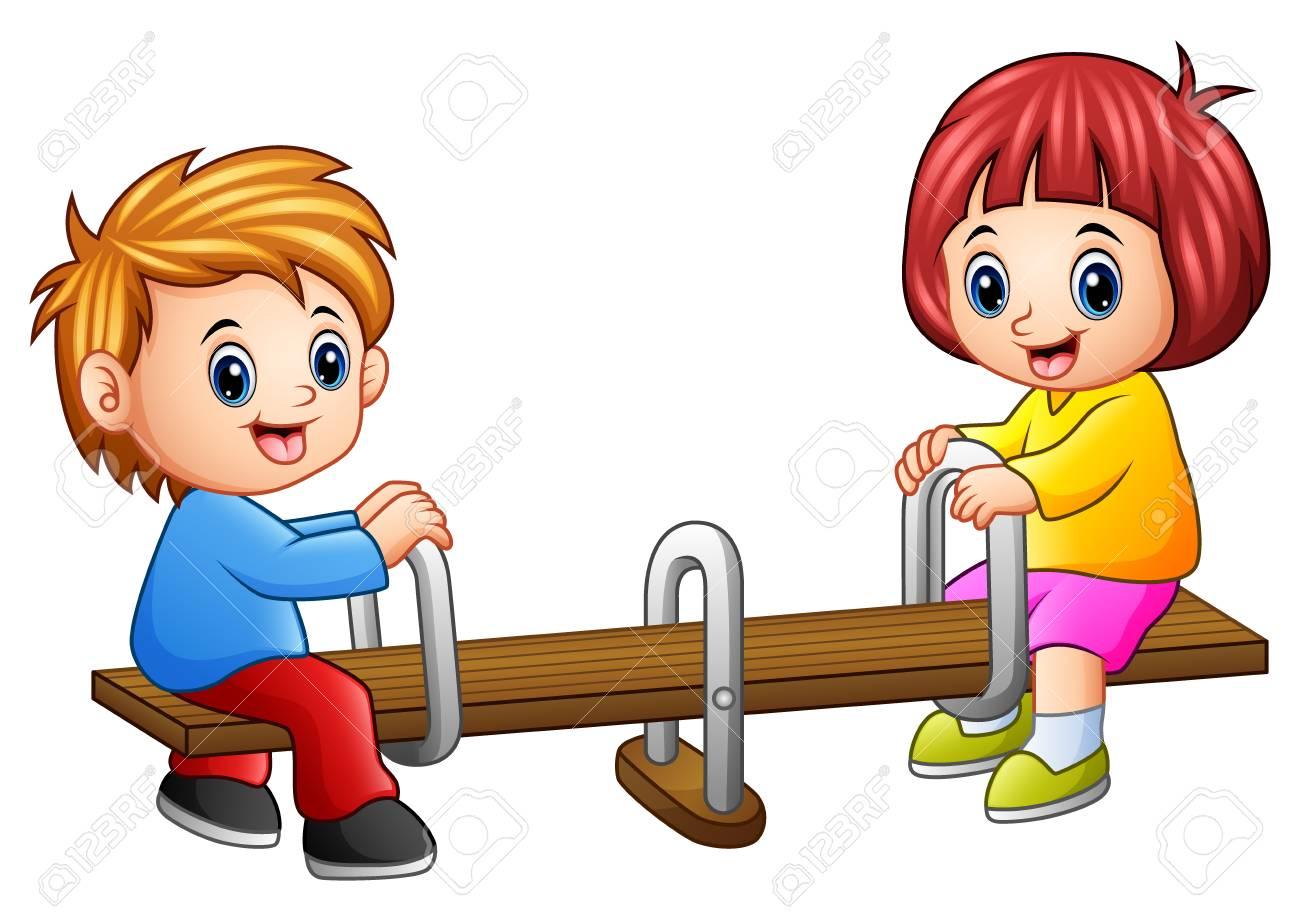 Dessin Balançoire enfants dessin animé jouant la balançoire sur fond blanc banque d