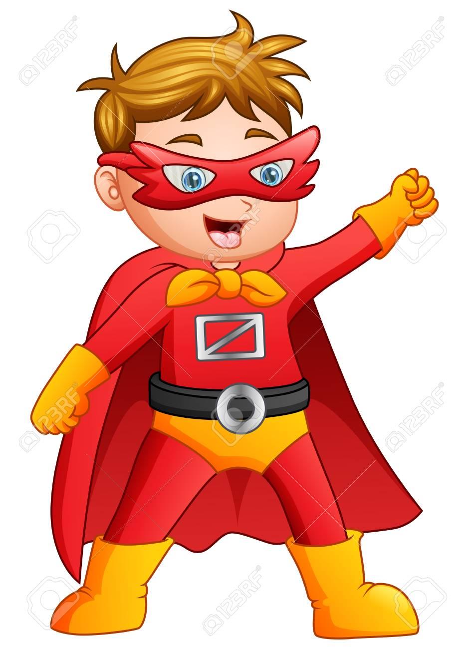 Ilustración Vectorial De Dibujos Animados Superhéroe Niño Posando ...