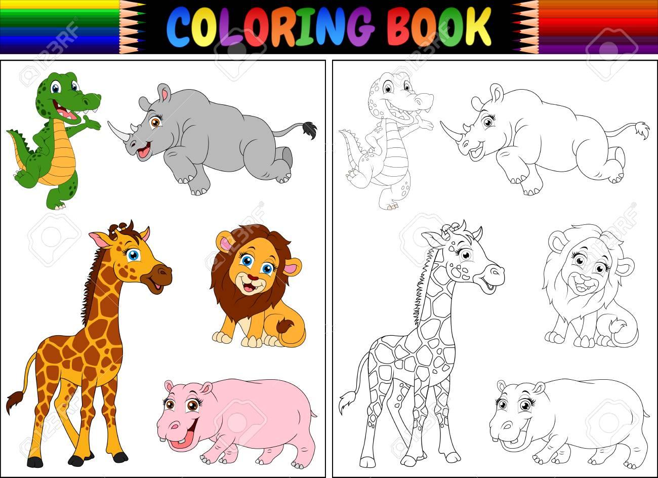 Ilustracion Vectorial De Libro Para Colorear Con Dibujos Animados