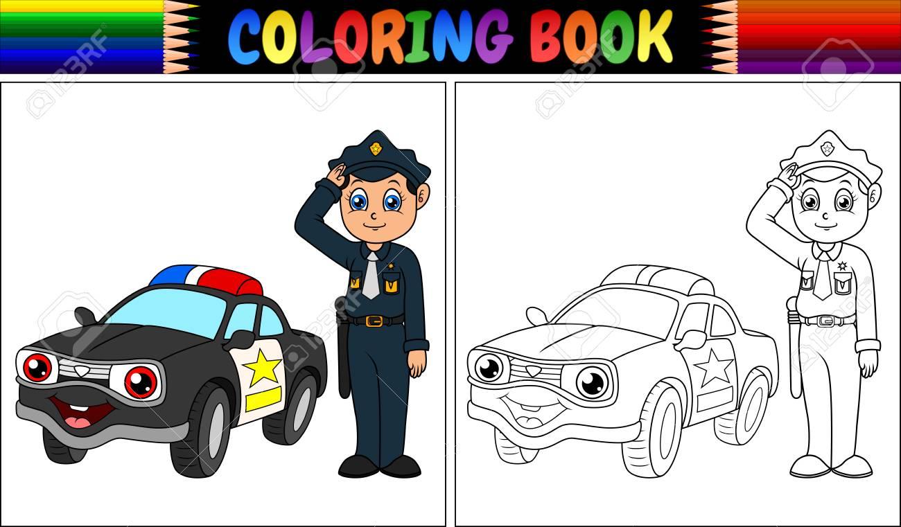 Ilustración Vectorial De Libro Para Colorear Con Policía Y Coche De Policía