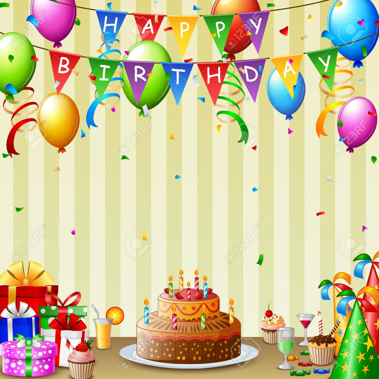 Swell Birthday Background With Birthday Cake And Colorful Balloon Stock Personalised Birthday Cards Paralily Jamesorg