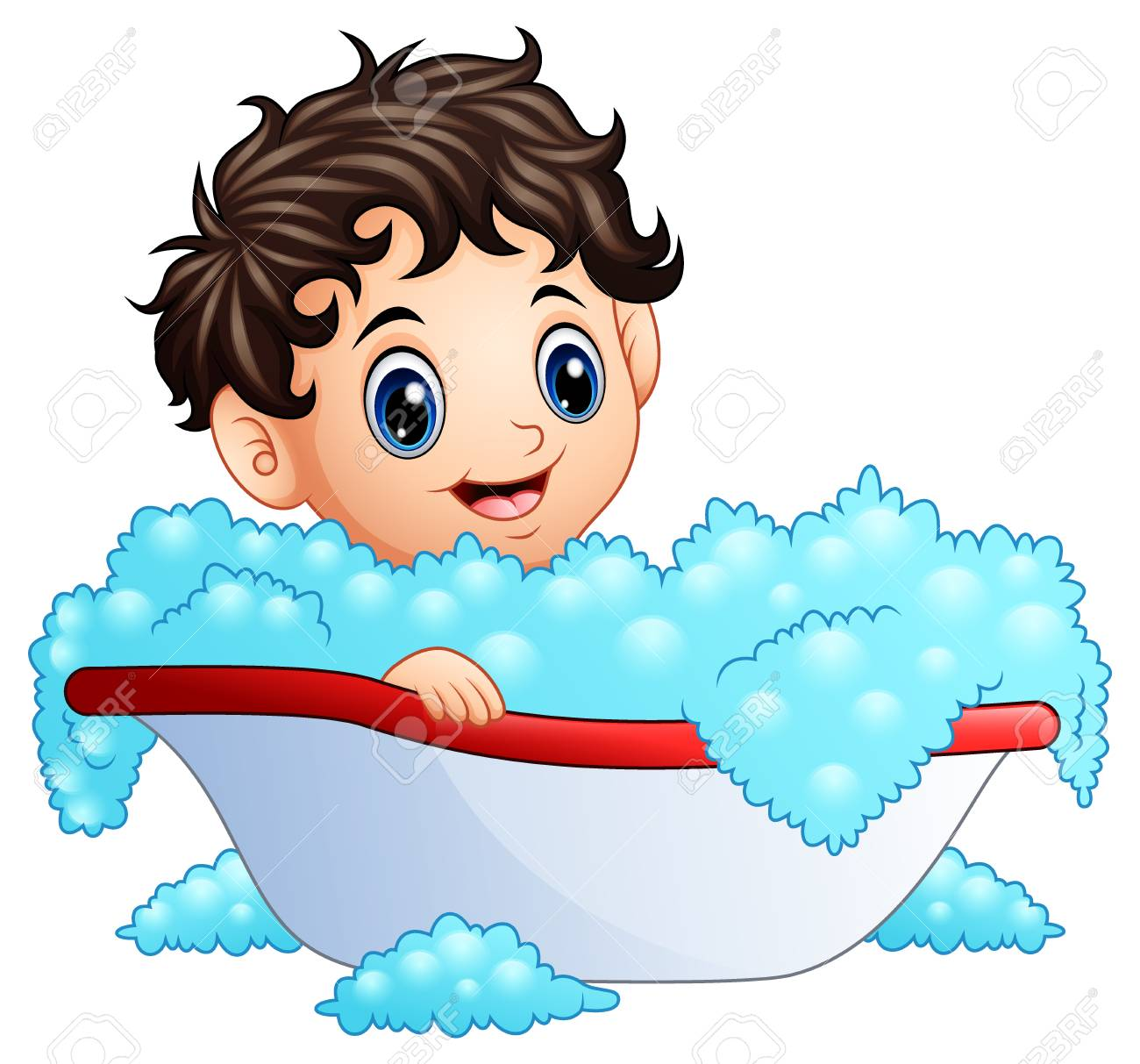 Vector Illustration Of Cute Little Boy Taking A Bath On A White Royalty Free Cliparts Vectors And Stock Illustration Image 95062044