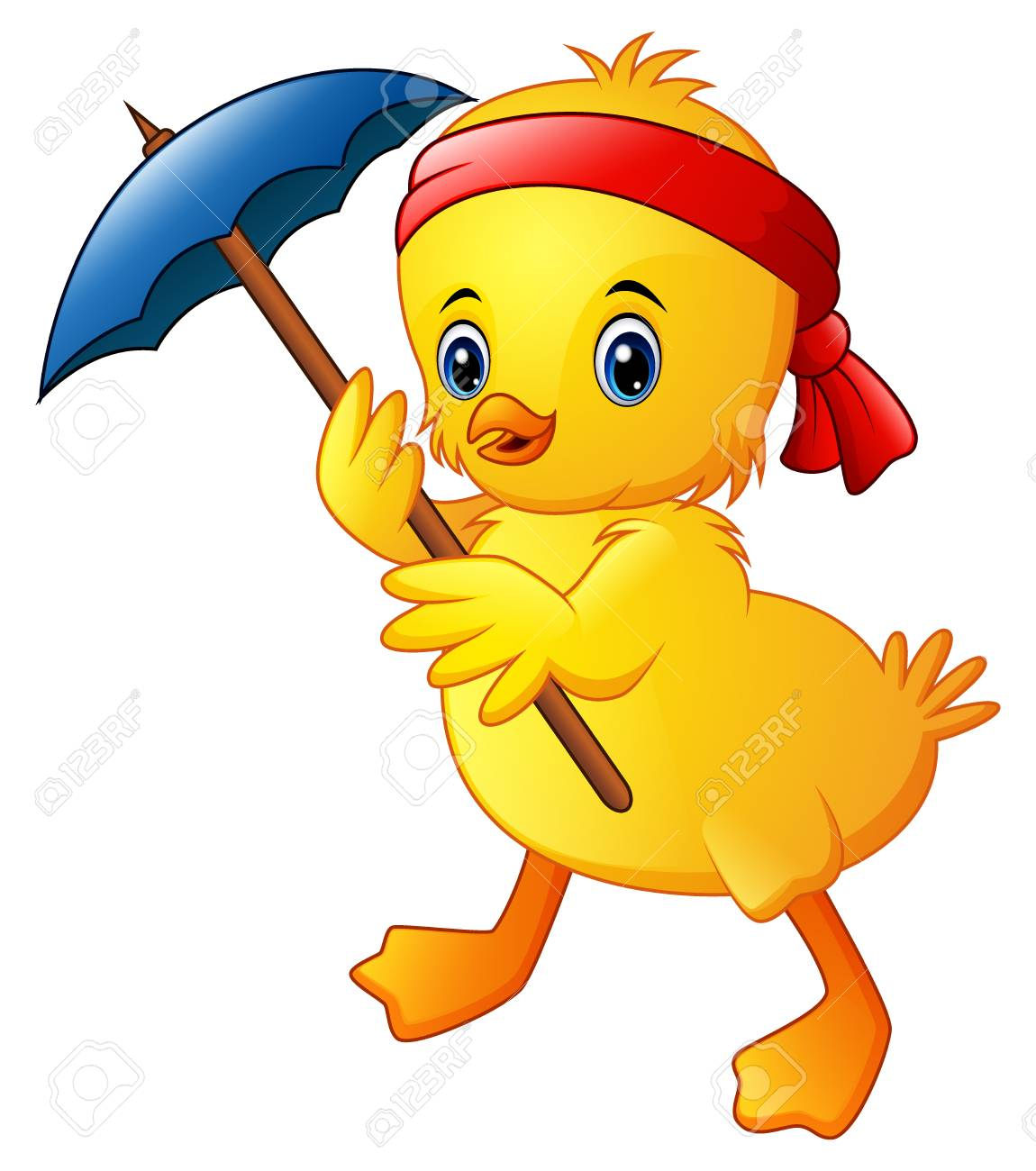 Cute cartoon duck with blue umbrella and red headband Stock Photo - 97861115 863ce125f72