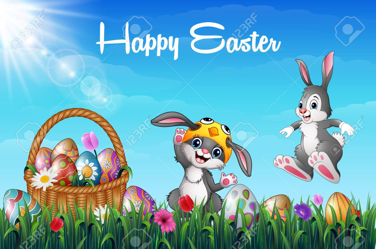 green grass field animated. Cartoon Two Happy Bunnies With Easter Basket Full Of Decorated Eggs In A Grass Field Green Animated