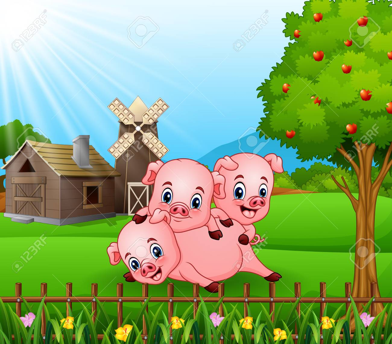Cartoon Three Little Pigs Playing In The Farm Background Stock Vector