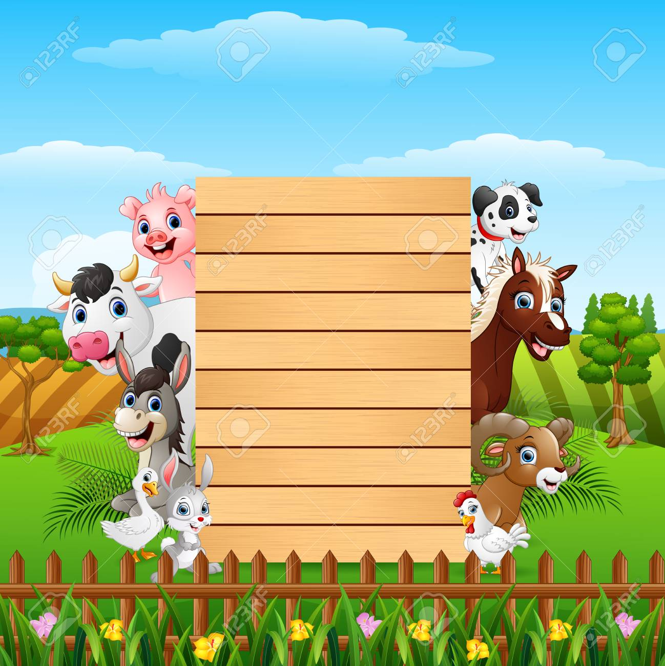 animals farm with a blank sign wood board royalty free cliparts