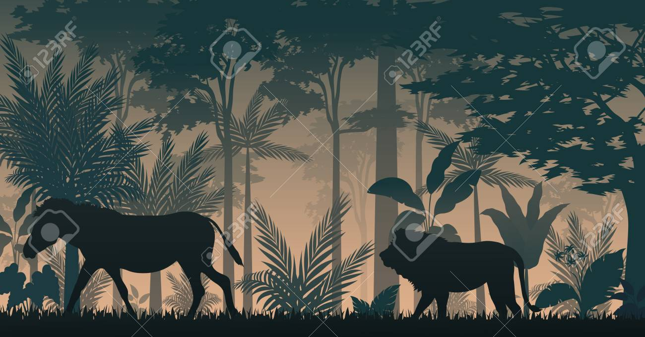 Silhouette animals in forest - 104874562