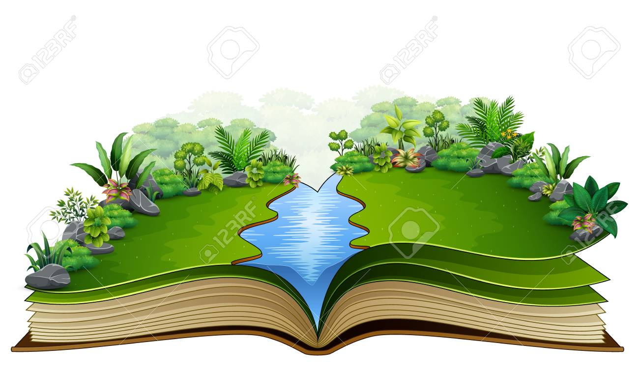 Open book with green plant of nature background - 106881064