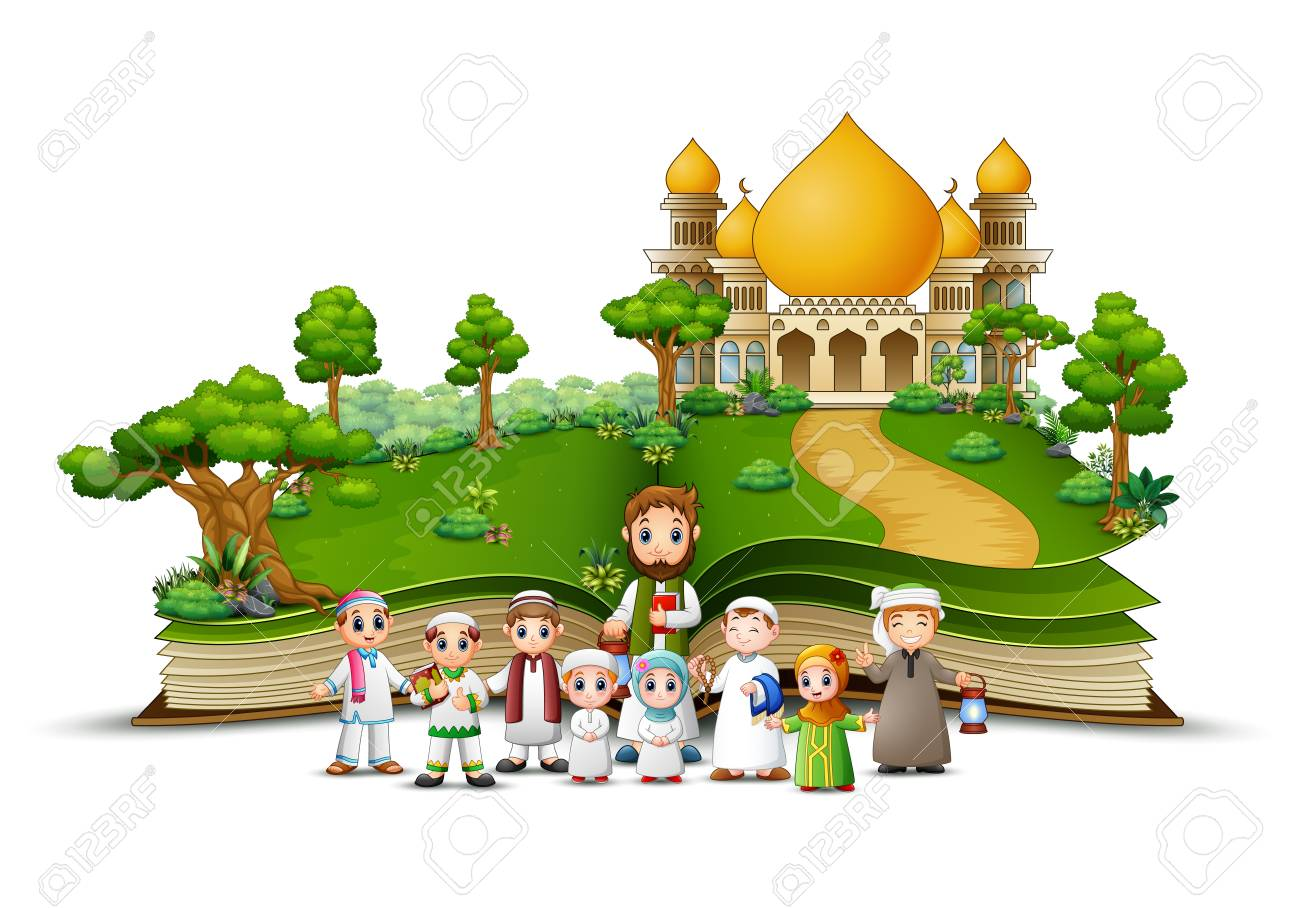 open book with a group of Muslim people in the front Islamic mosque - 106874760
