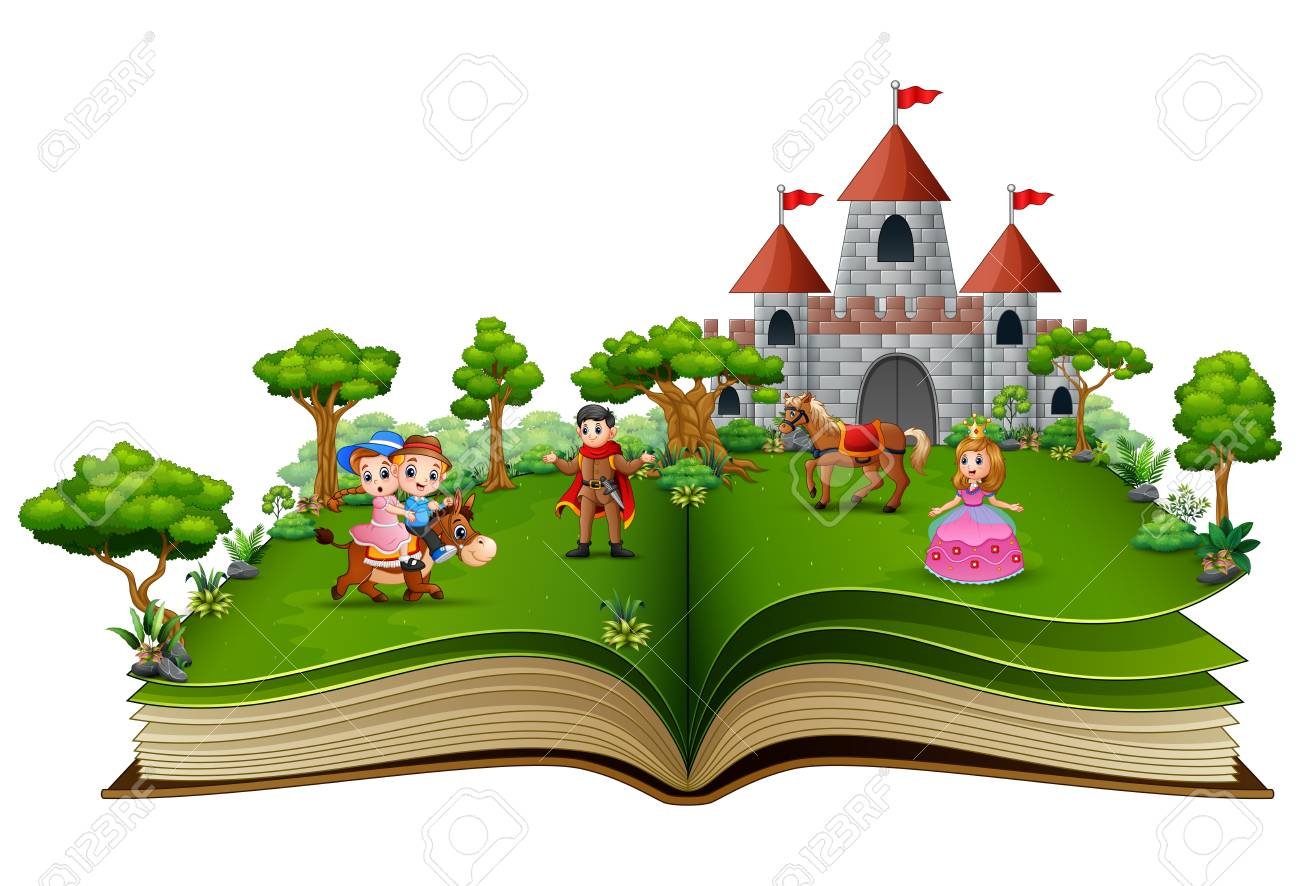 Story book with cartoon princesses and princes in front of a castle - 110489395
