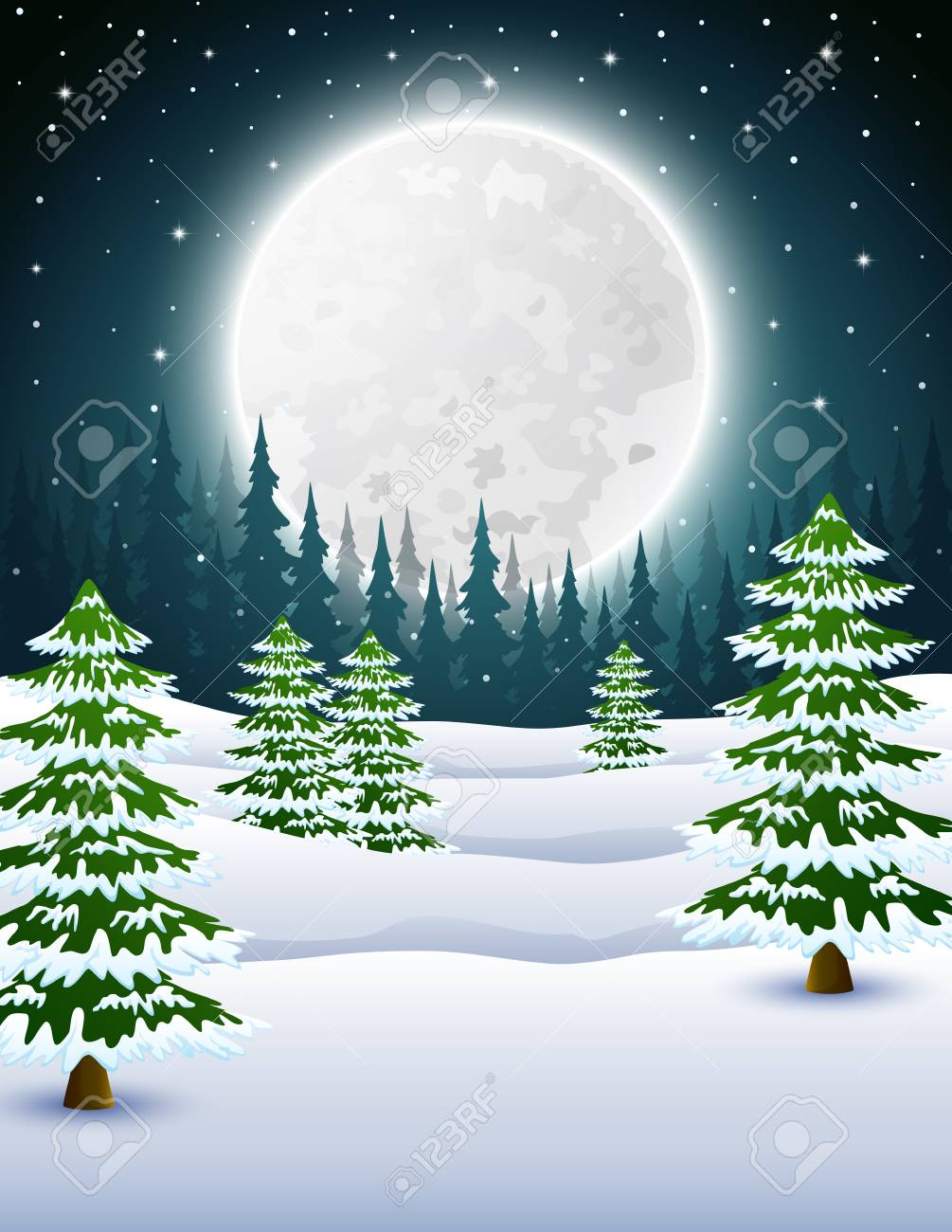 Cartoon Of Winter Night Background With Pine Trees At Night Royalty Free Cliparts Vectors And Stock Illustration Image 111773111 Download this cartoon illustrations of green trees vector illustration now. cartoon of winter night background with pine trees at night