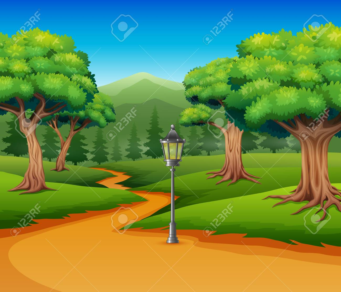 Cartoon Of Forest Background With Dirt Road Royalty Free Cliparts Vectors And Stock Illustration Image 113230619