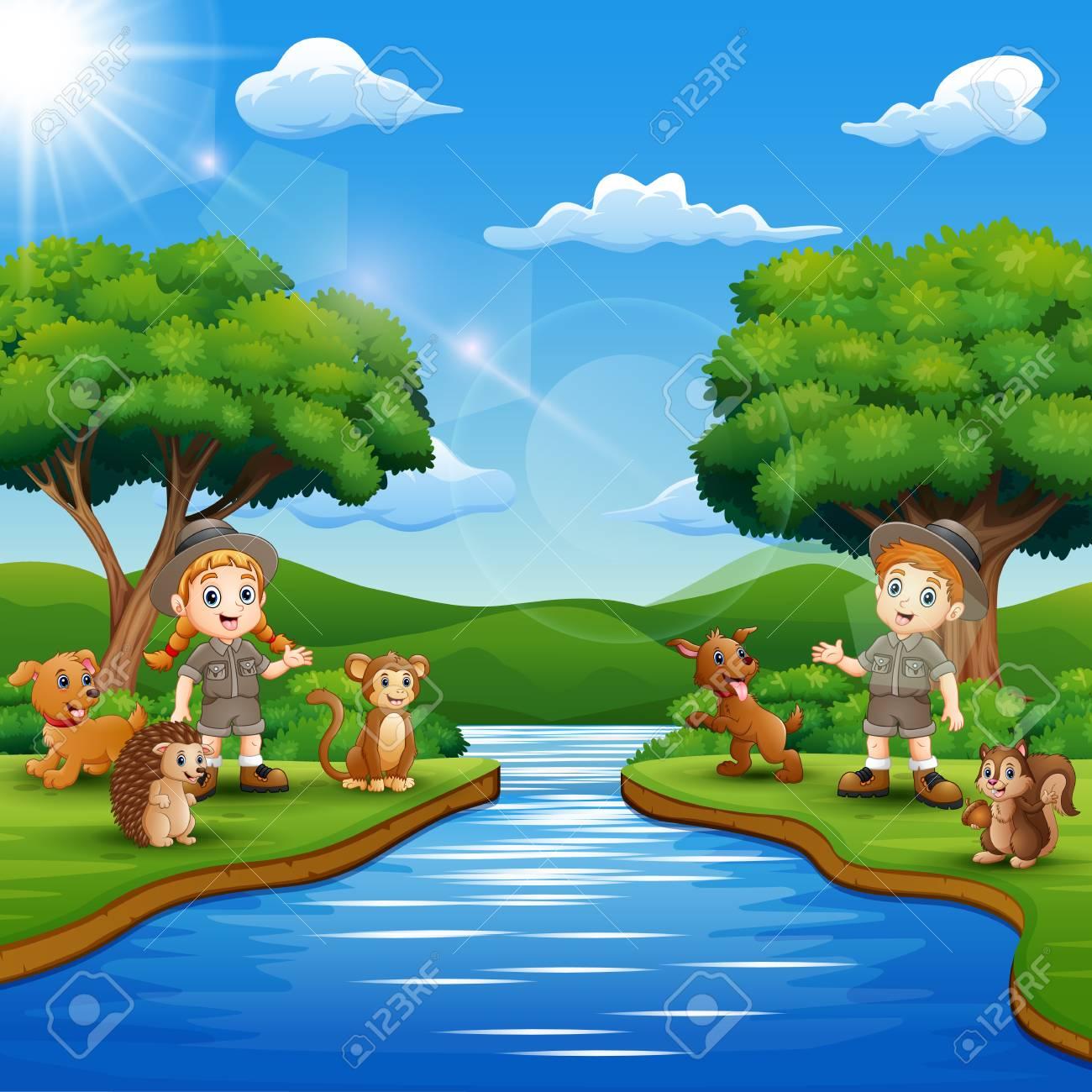Wild animals living next to river - Download Free Vectors, Clipart Graphics  & Vector Art