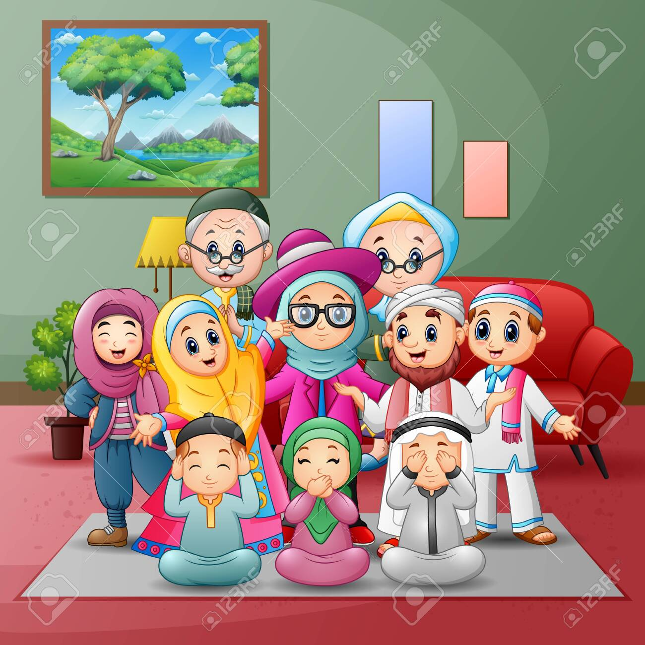 Happy big muslim family members gathered together at home - 137972055