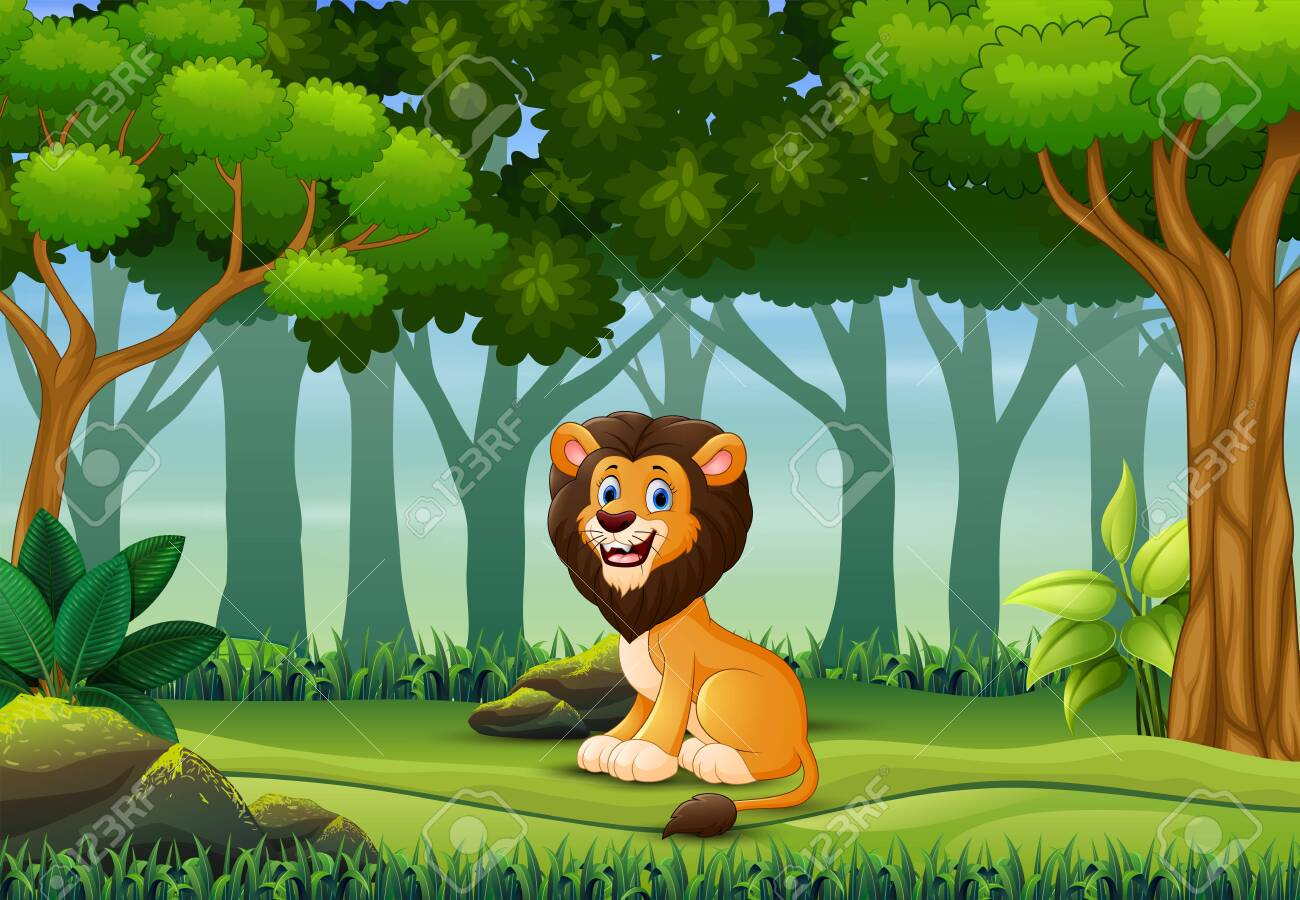 A lion enjoying in the forest - 144477151