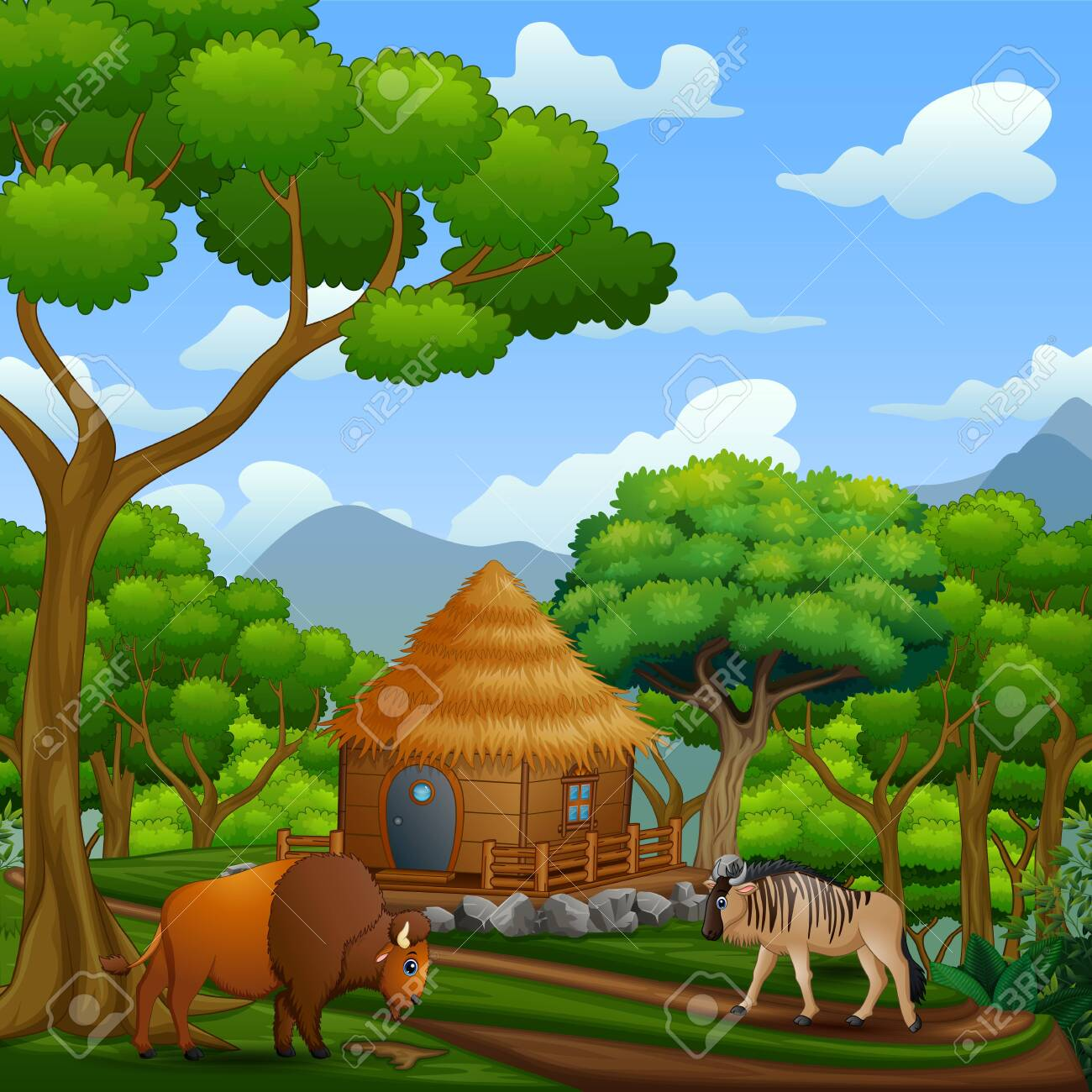 Scene with wooden cottage with animals - 144940271