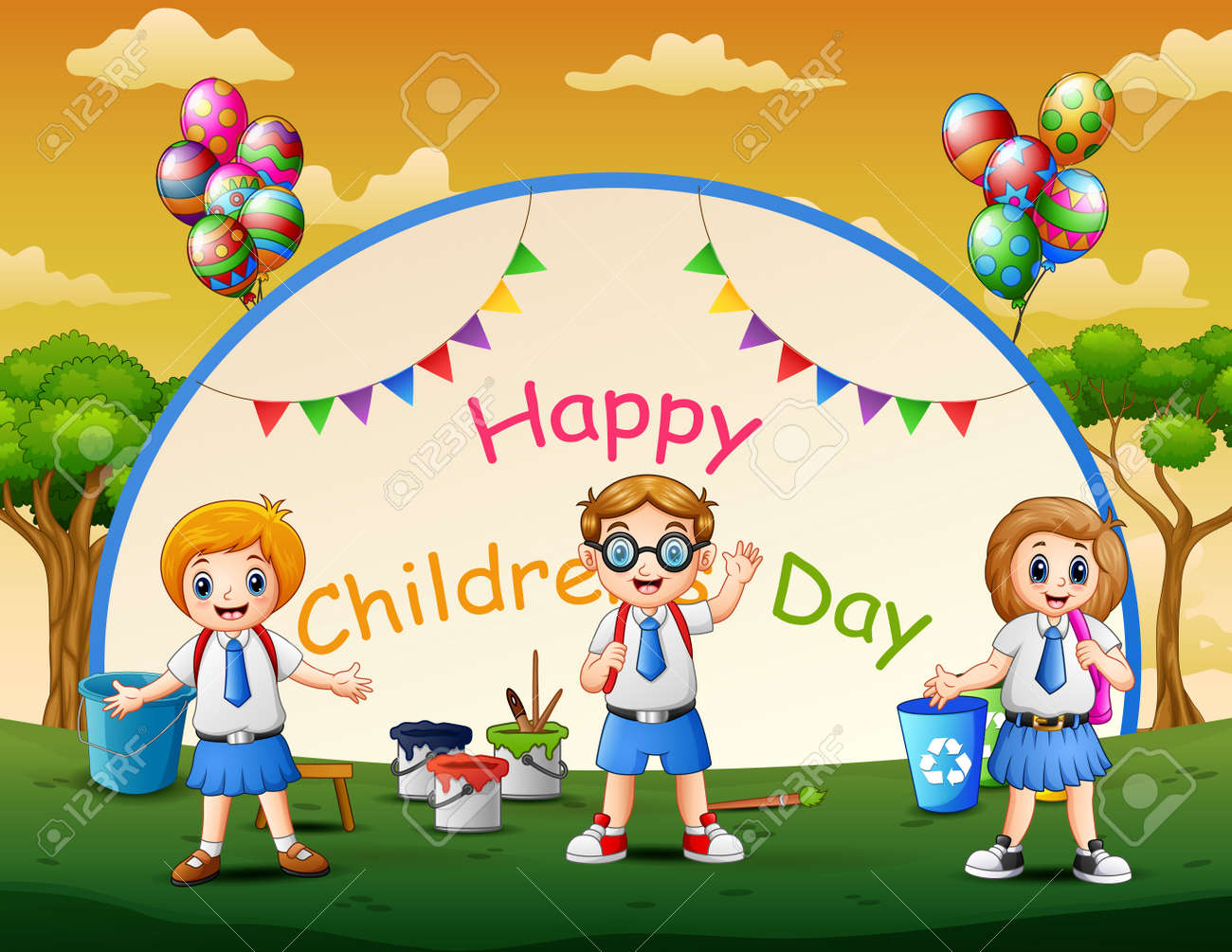 Happy children's day poster with students in the park - 157239519