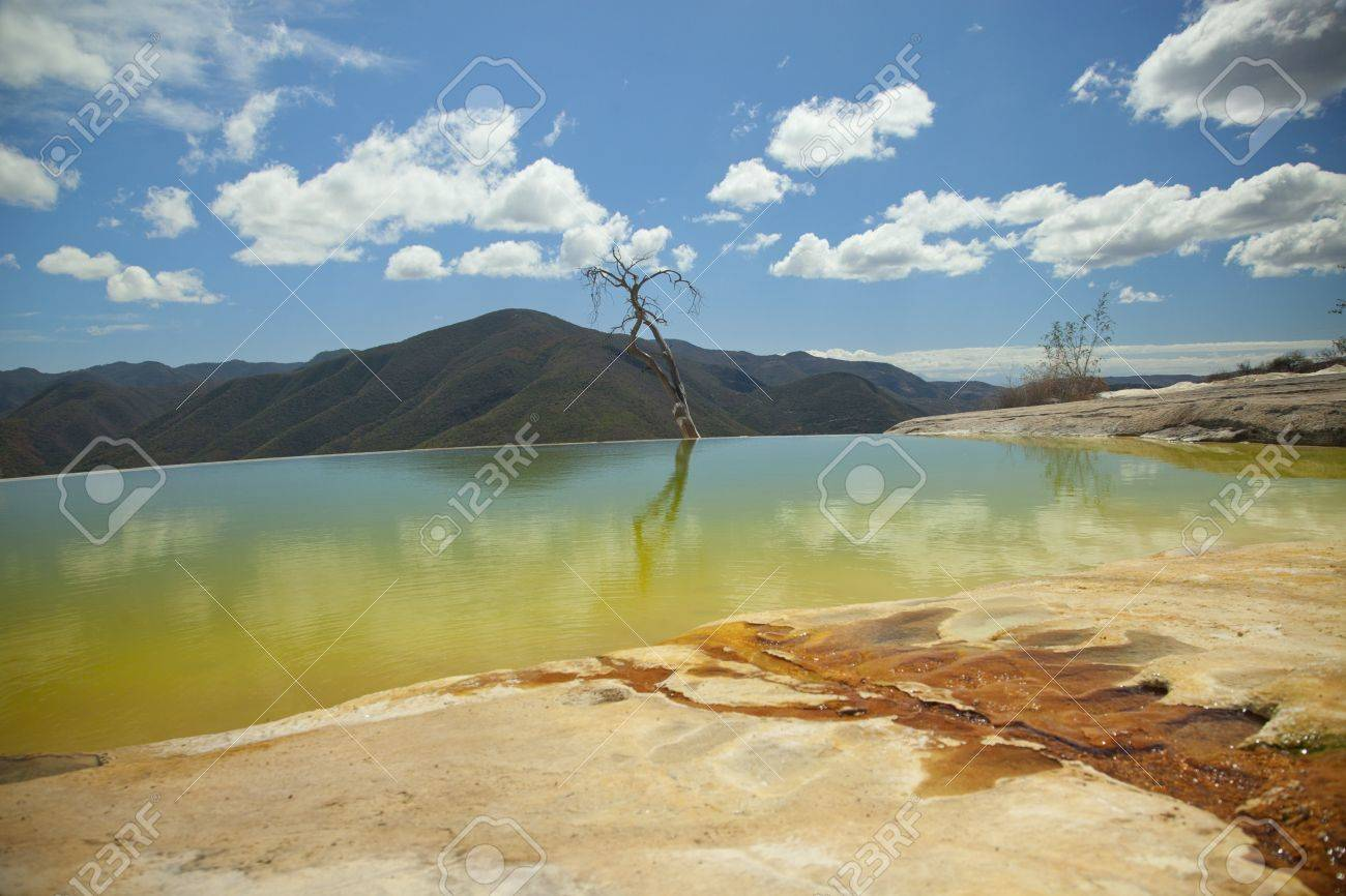 the unique and beautiful landscape of hierve el agua in oaxaca state, mexico Stock Photo - 16781002