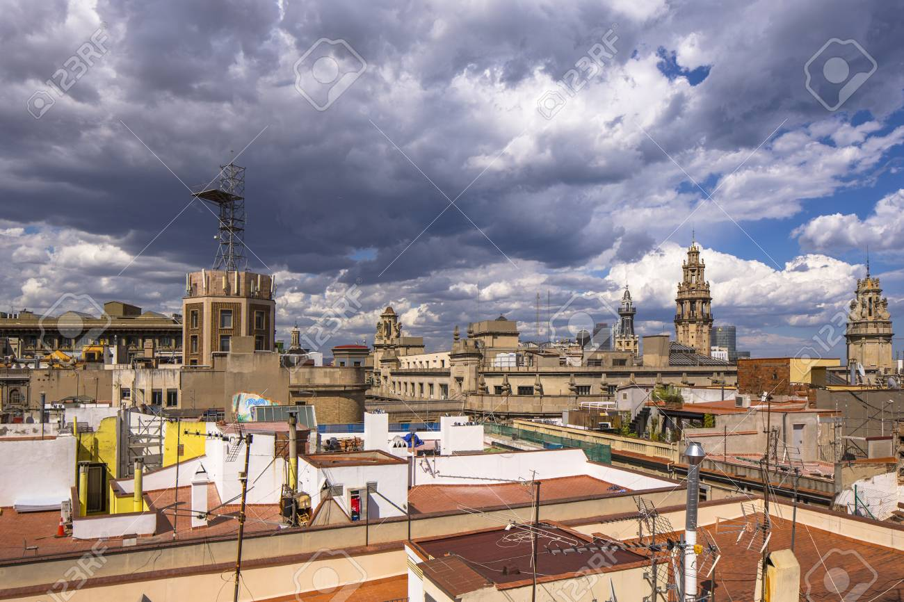 View Of The Rooftops Of Barcelona Shot From A Terrace In The