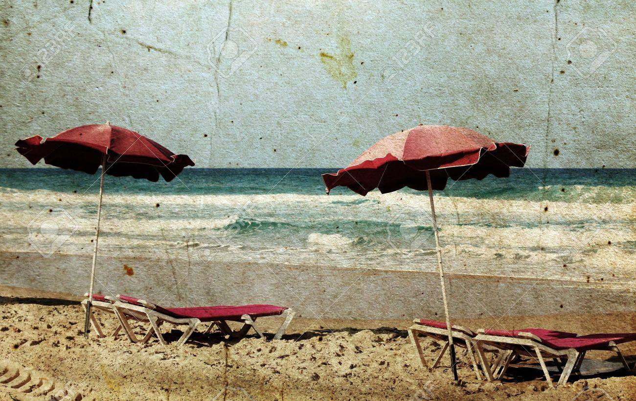 chairs on shore near sea in grunge and retro style Stock Photo - 12111219