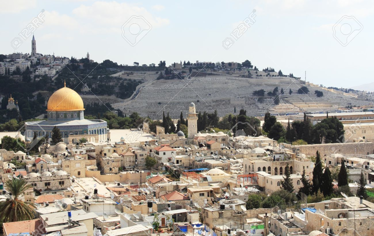 Old City of Jerusalem, a beautiful view of the Temple Mount, a mosque, the Wailing Wall, the Orthodox Church, the Jewish cemetery Stock Photo - 12695212