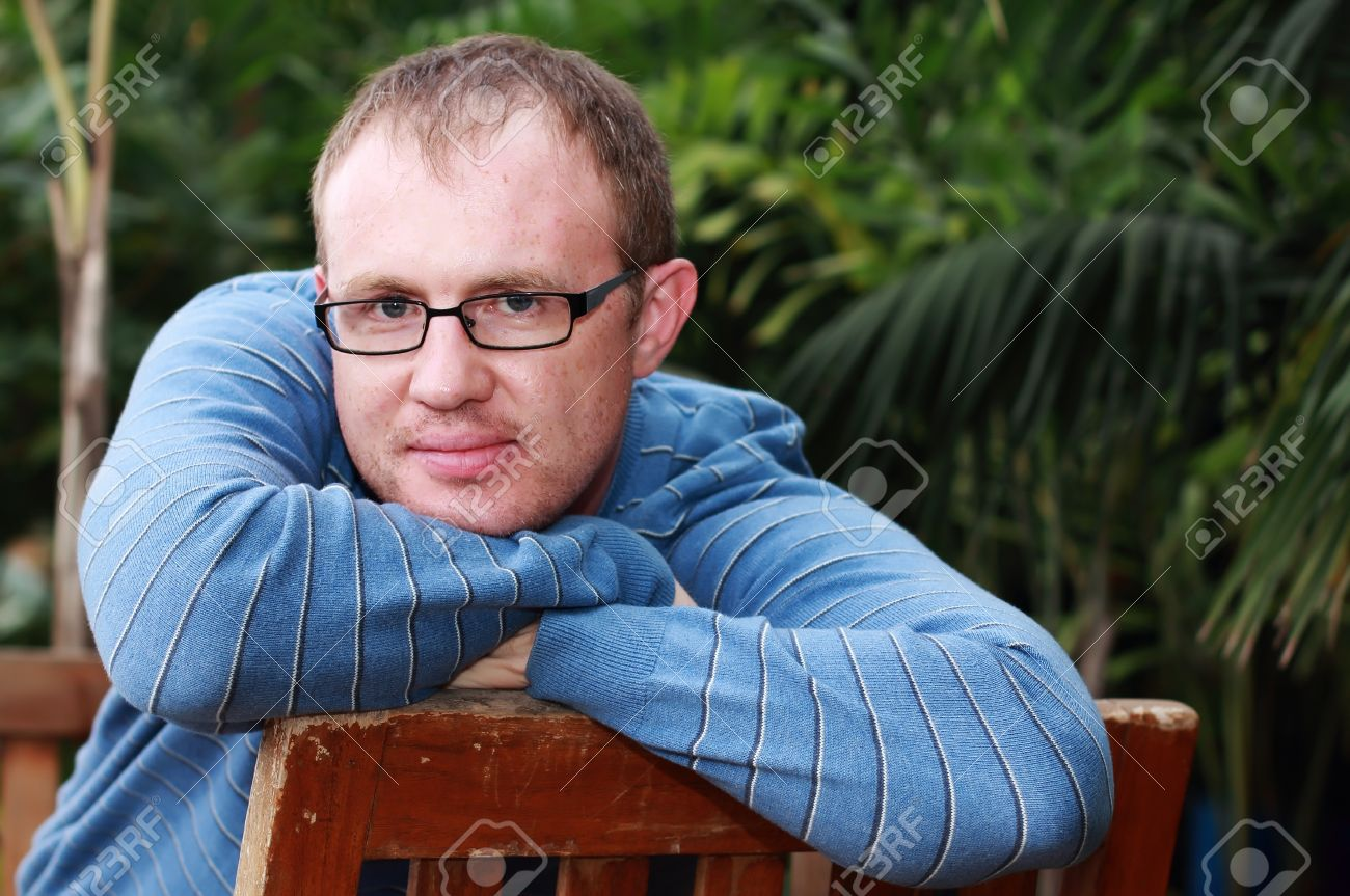 8e001ef47626 handsome 35 years old man with glasses outdoors Stock Photo - 18206681