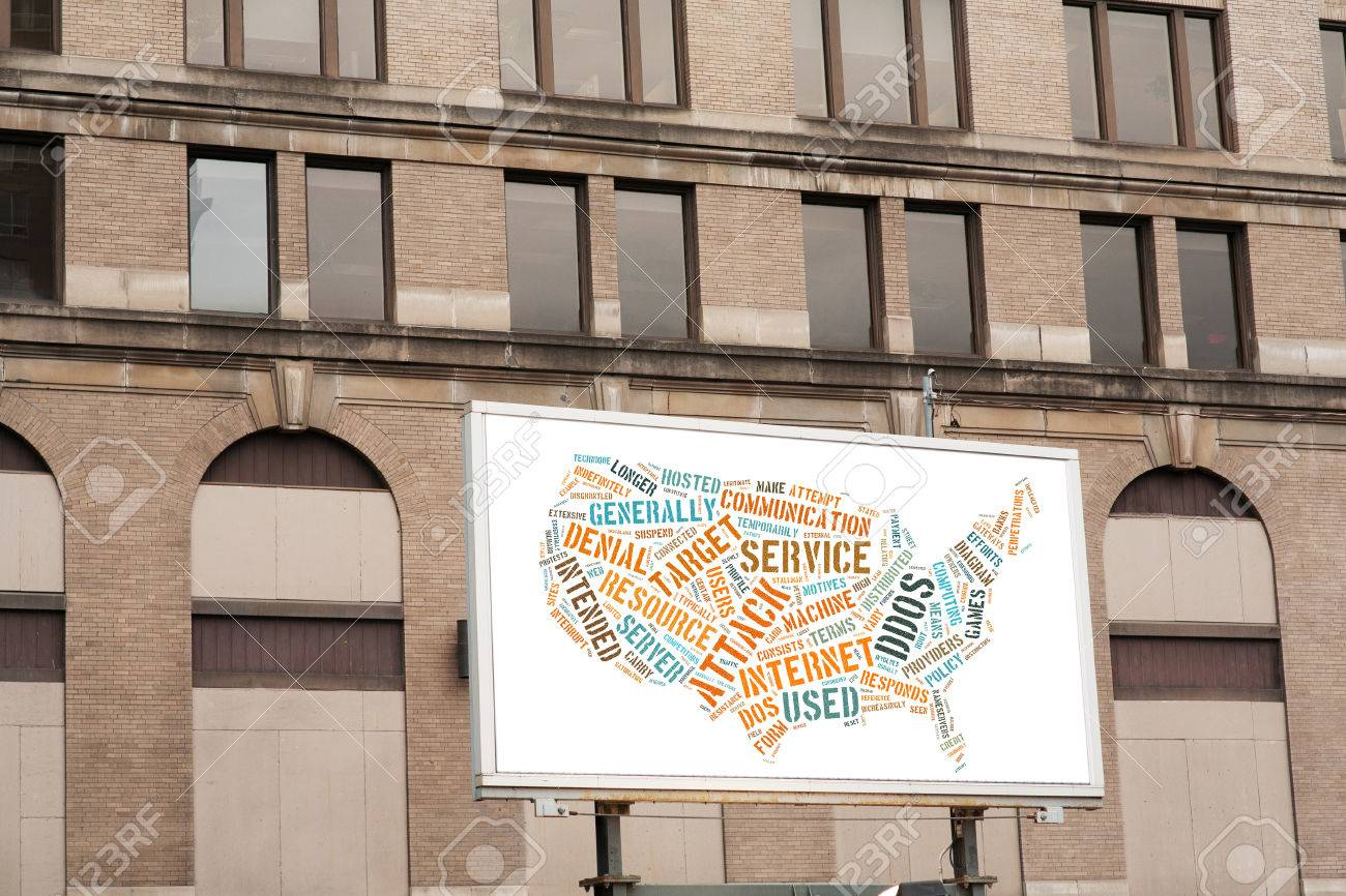 Advertising Billboard With DDOS Word Cloud Sign USA Map On Brick ...