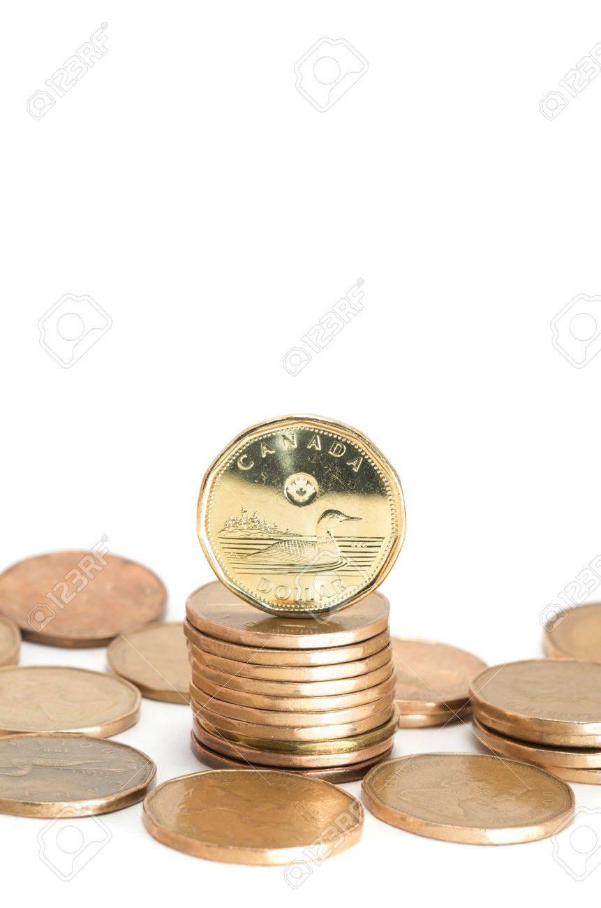 Eine Kanadische Dollar Münzen Stack Auf Weiß Lizenzfreie Fotos