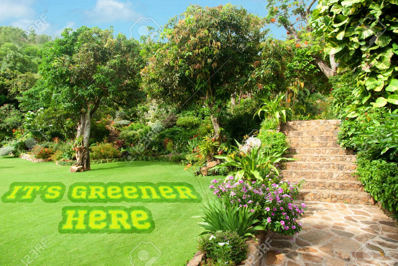 Naturel Paysager De Pierre Dans La Maison Jardin Avec Des Escaliers ...