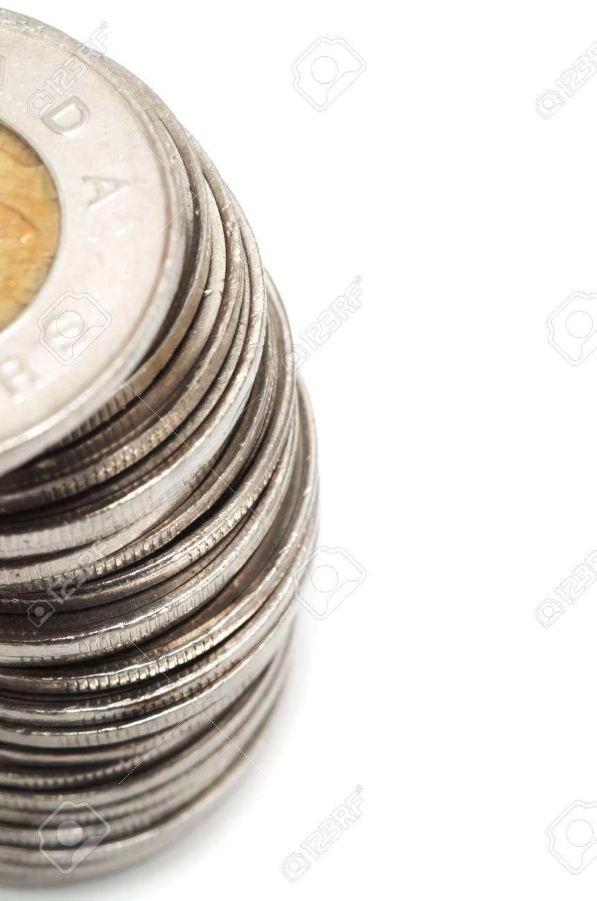 Kanadischer Dollar Münzen Stack Auf Weiß Lizenzfreie Fotos Bilder