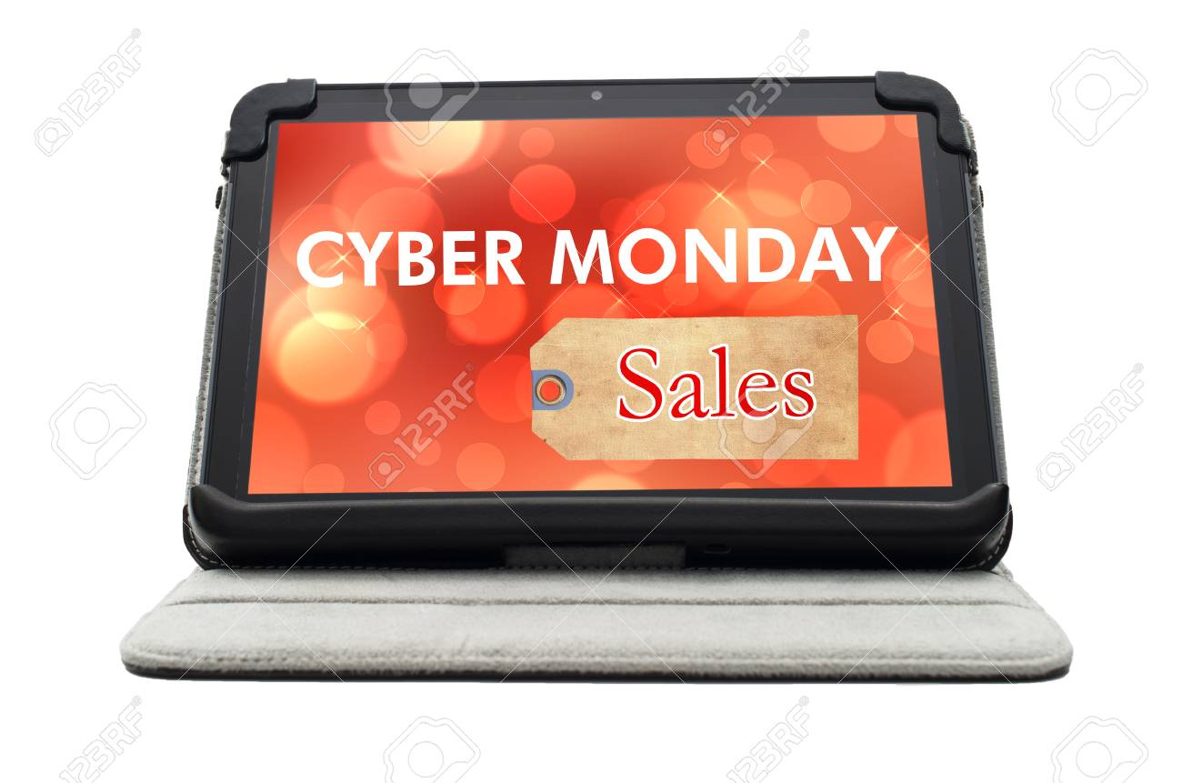 94d1442a31 Cyber Monday Specials sale shopping sign on black tablet device isolated on white  background Stock Photo