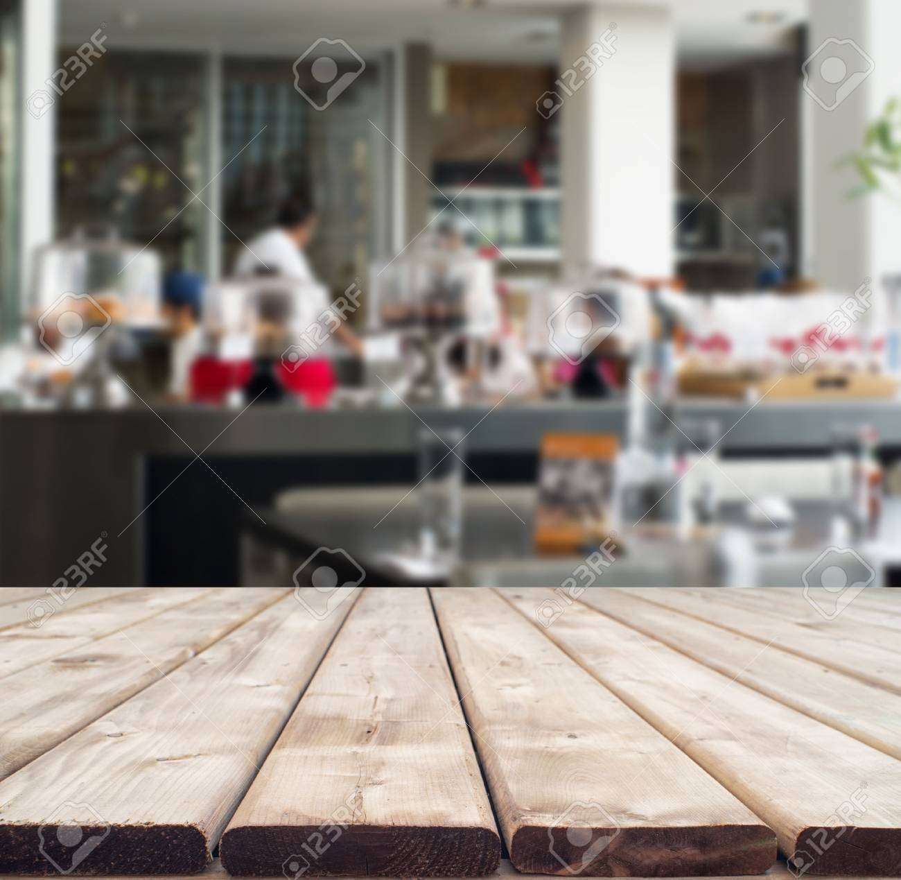 Rustic Wooden Table Perspective Showing Interior Of Modern Restaurant Stock Photo Picture And Royalty Free Image Image 59923955