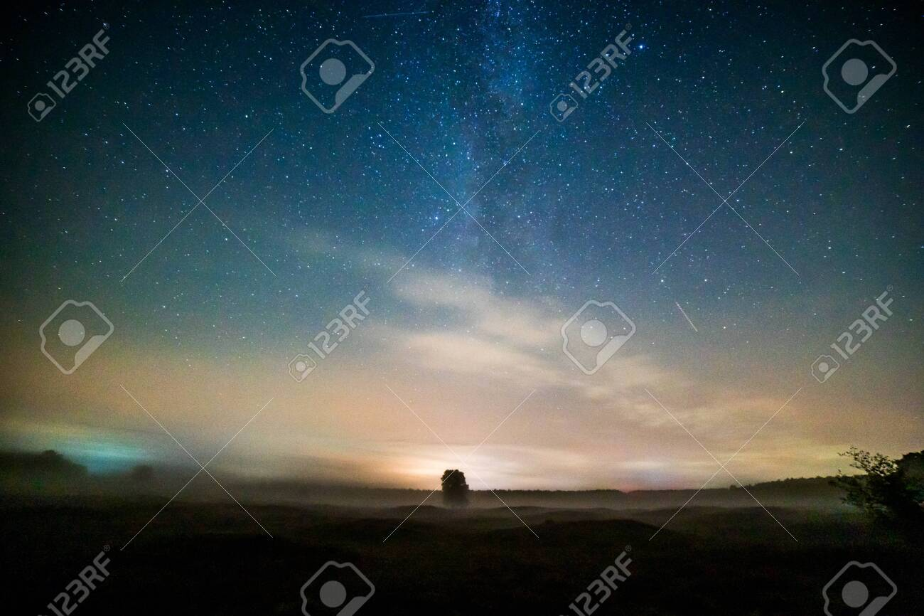 Starry night over a small town in Germany - 145584920