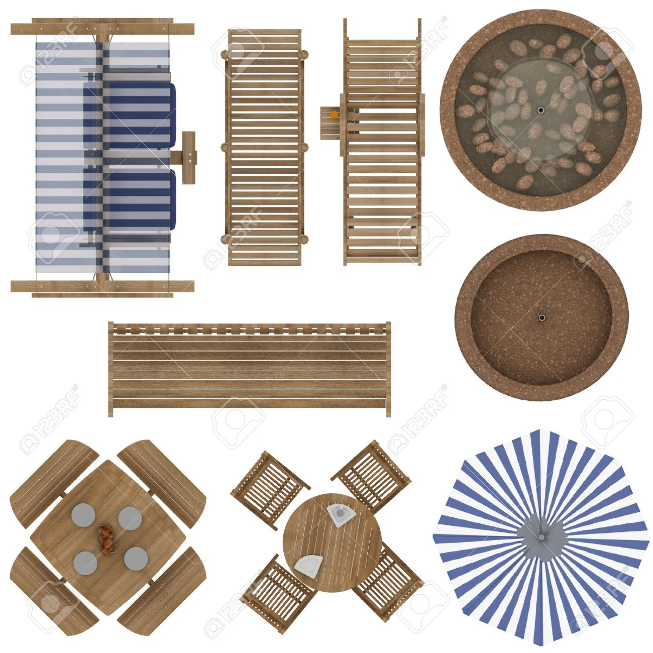 Furniture top view images - Set Of Outdoor Furniture Top View Isolated On White Background Stock Photo 18841931
