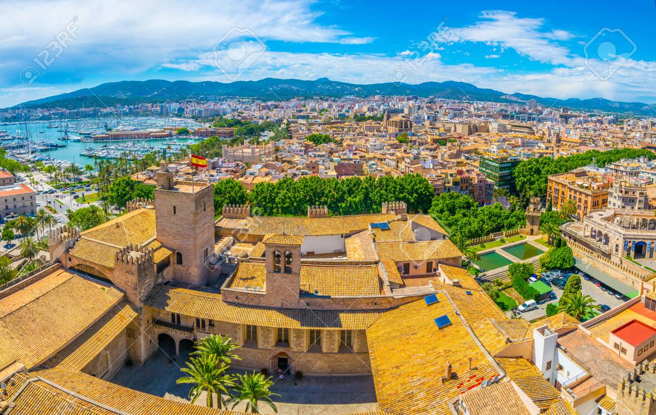 aerial view of palma de mallorca with almudaina palace spain