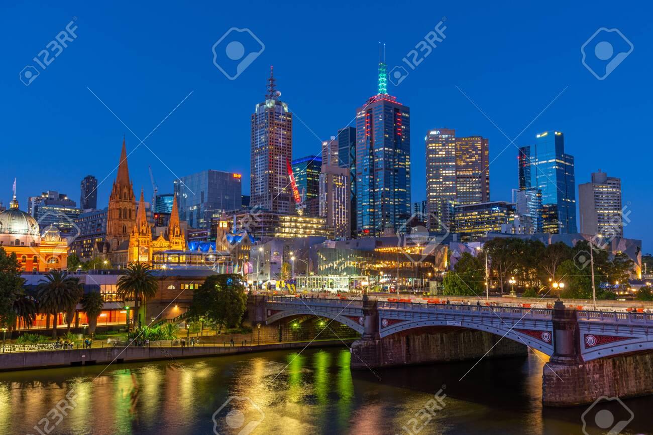 MELBOURNE, AUSTRALIA, DECEMBER 31, 2019: Night panorama of Melbourne behind Yarra river, Australia - 148658061