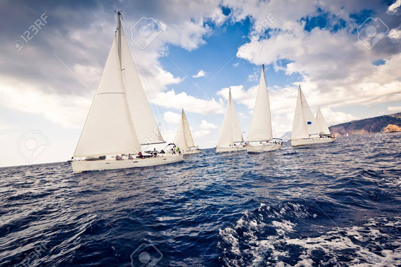 Sailing ship yachts with white sails Stock Photo - 11708739