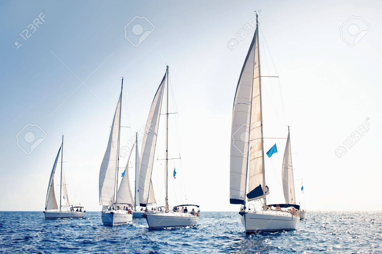Sailing ship yachts with white sails Standard-Bild - 11708696