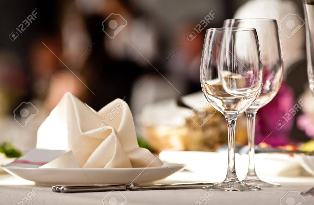 Fancy restaurant table setting - Empty Glasses Set In Restaurant Stock Photo 14099070