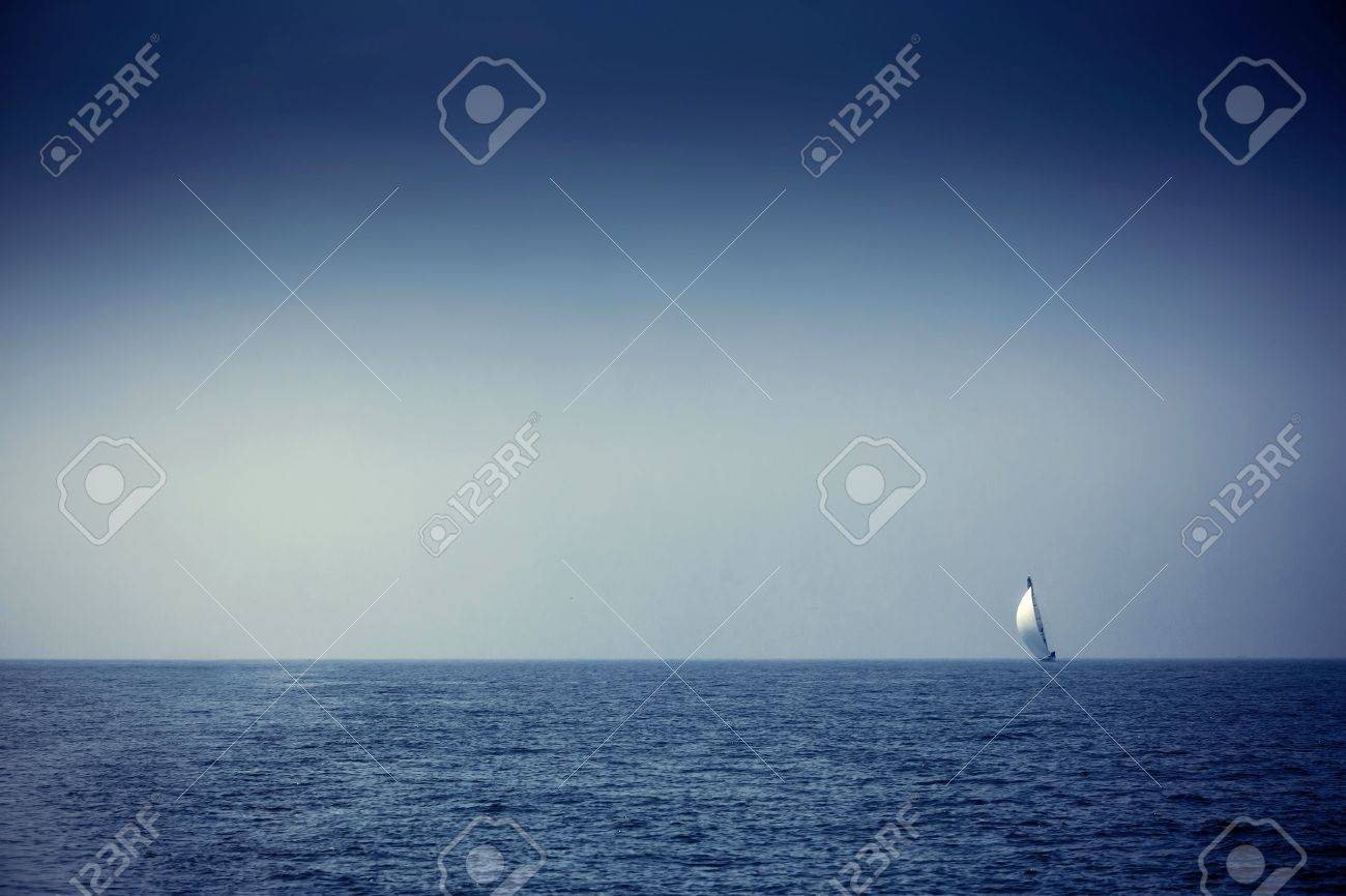 Sailing ship yachts with white sails in a row Stock Photo - 22167389