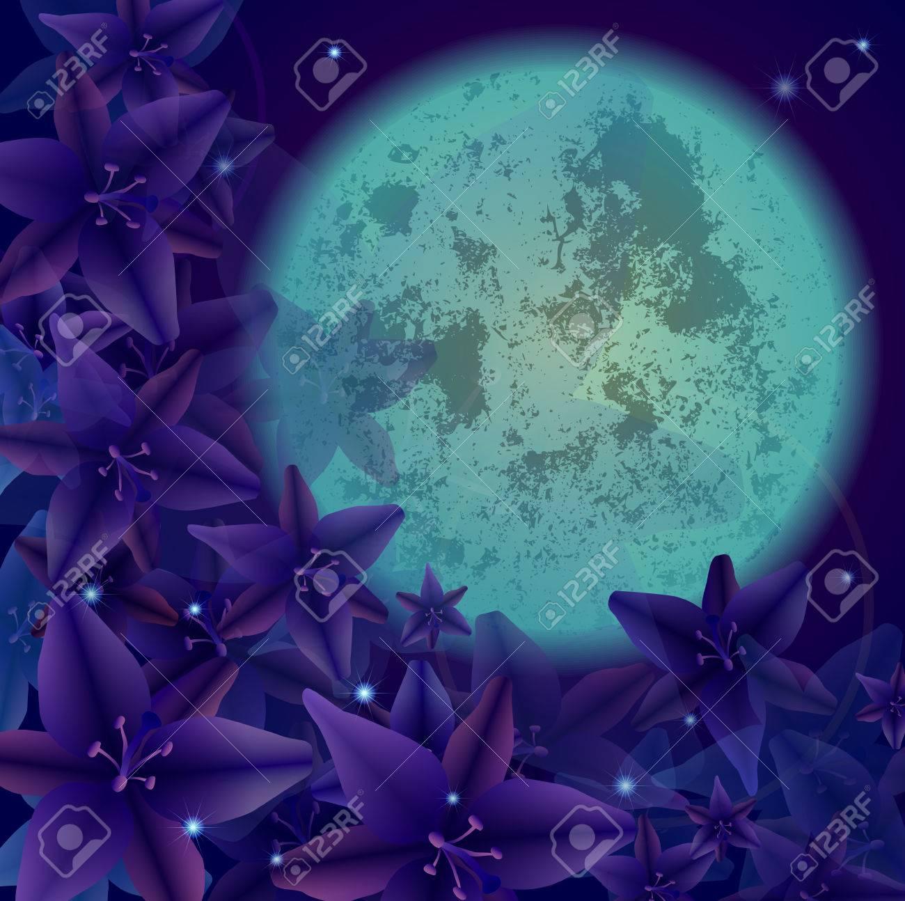 illustration of night flowers, background, vector clip-art Stock Vector - 23238815