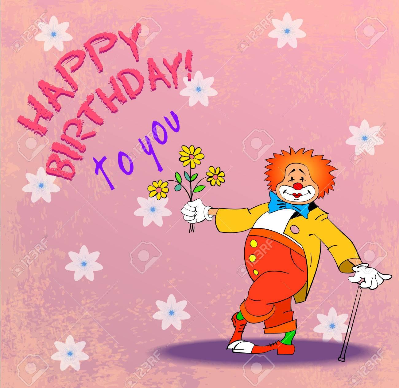 Connu Biglietto Di Auguri Di Compleanno Con Clown, Illustrazione  JR42