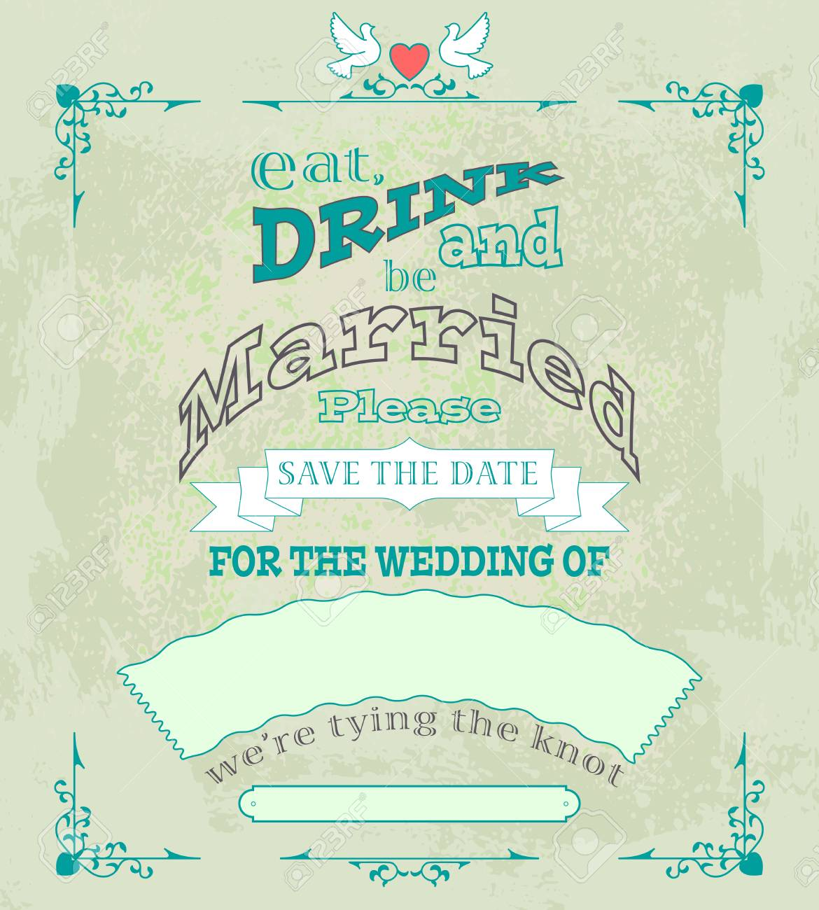 Eat Drink And Be Married Invitation Or Wedding Card Vector