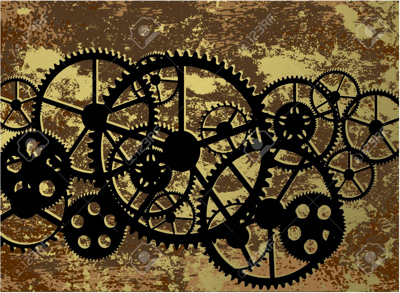 Dirty Background With A Clockwork Illustration Clip Art Royalty Free Cliparts Vectors And Stock Illustration Image 97434850