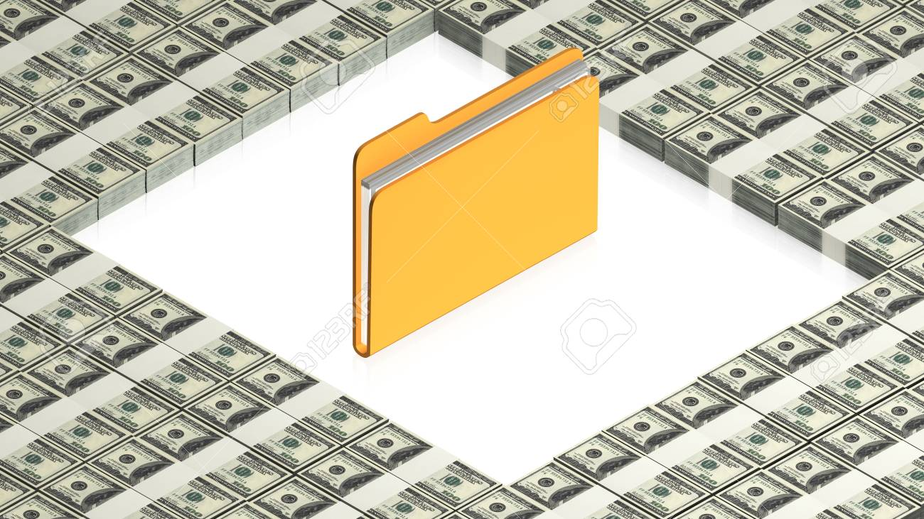 folder with paper dollars Stock Photo - 15041776