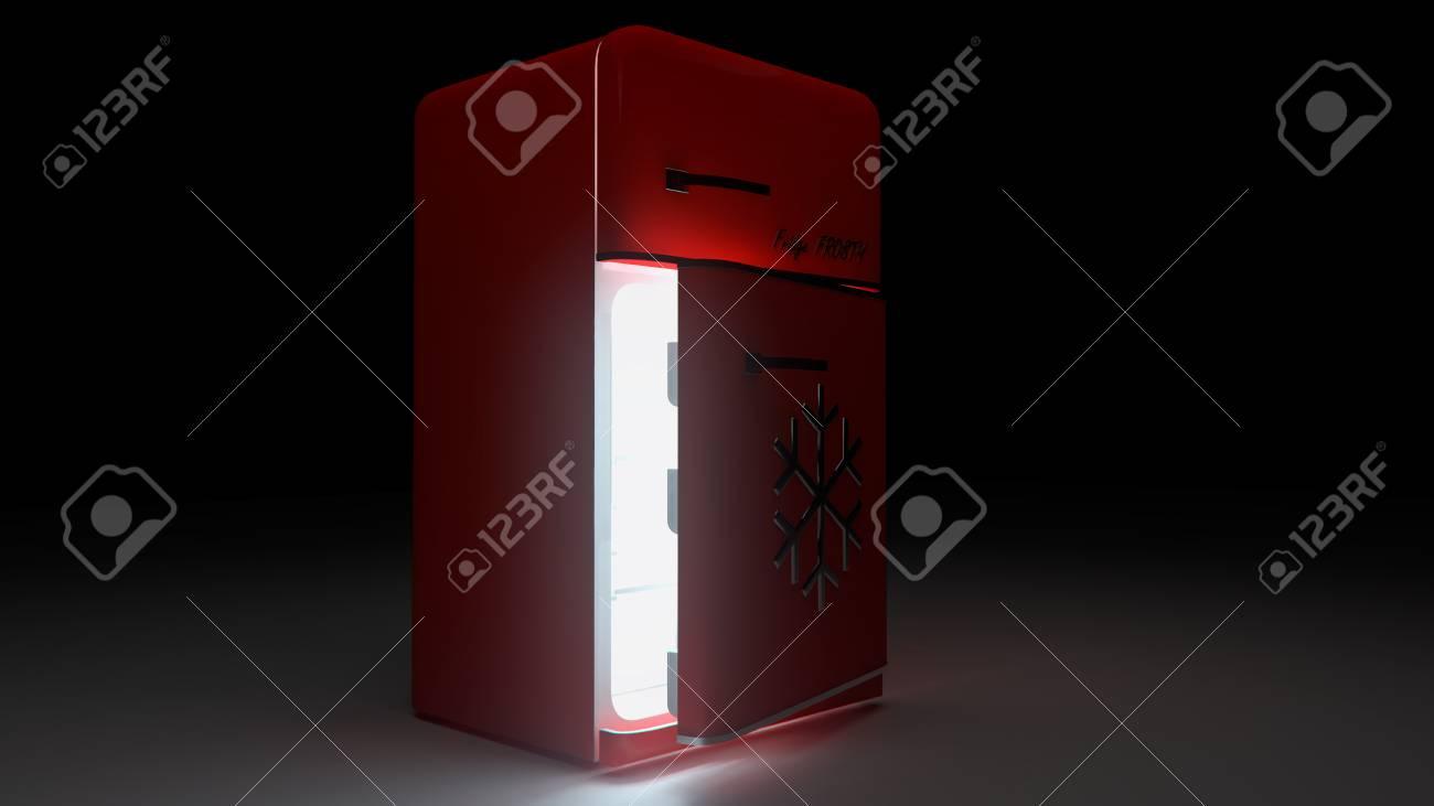 Retro Kühlschrank Rot : Geöffnet retro kühlschrank kühlschrank in rot retro farben